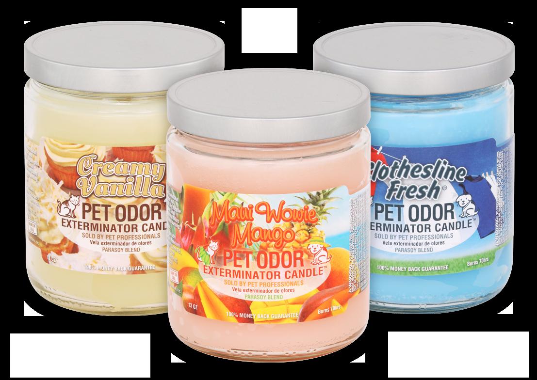 Creamy Vanilla, Maui Wowie Mango, and Clothesline Fresh Pet Odor ExterminatorJar Candles
