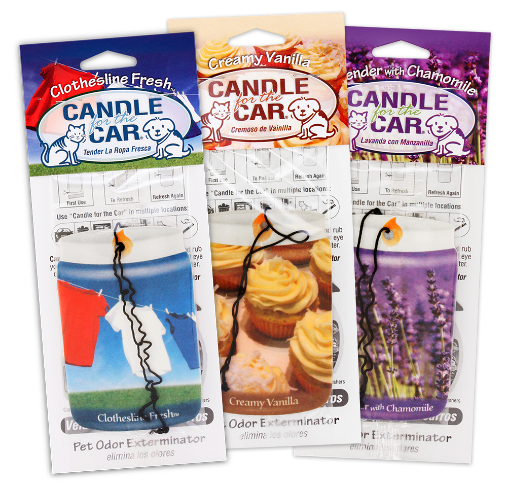 Car hangers in Clothesline Fresh, Creamy Vanilla, and Lavender with Chamomile