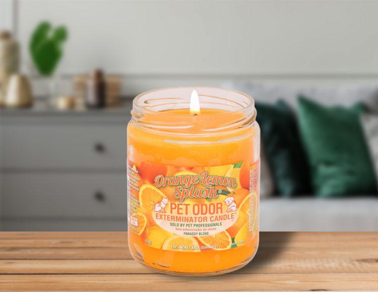 Lit Orange Lemon Splash 13oz Jar Candle on table in living room