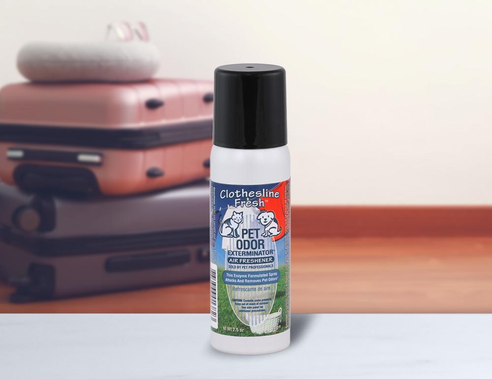 Clothesline Fresh 2.5oz Mini Spray with luggage in background