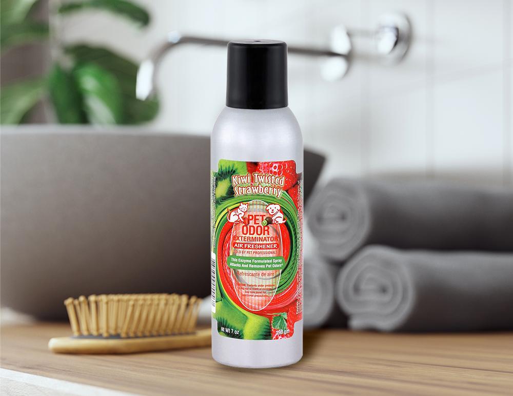 Kiwi Twisted Strawberry 7oz Spray in bathroom