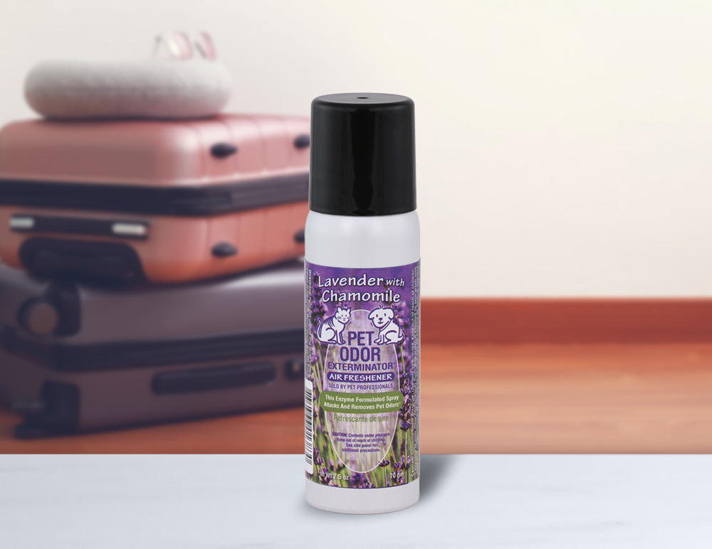 Lavender with Chamomile 2.5 Mini Spray with luggage in background