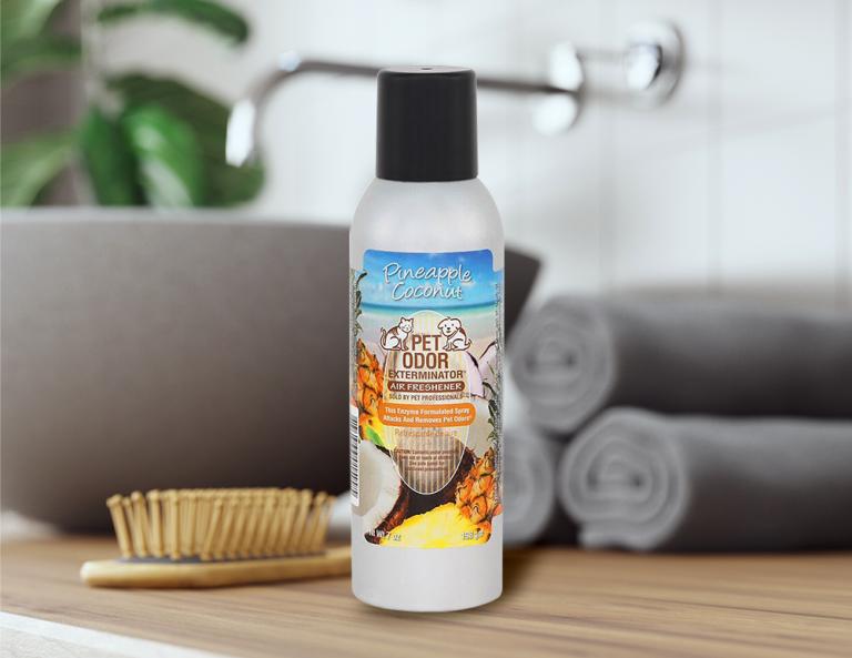 Pineapple Coconut 7oz Spray in bathroom